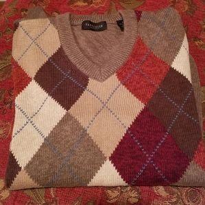 Men's Argyle Cotton v-neck Sweater